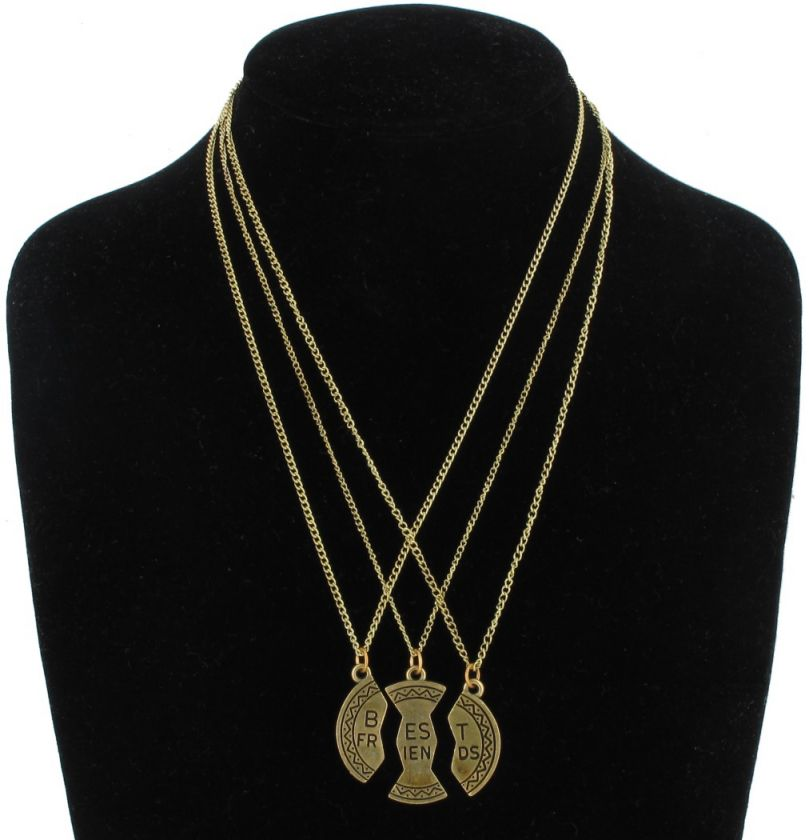 BFF 3 Part Best Friends Gold Tone Pendant Necklace