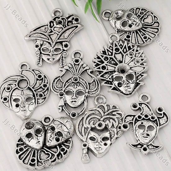 Tibetan Silver Clown Mask Face Charm Pendant Finding Jewelry