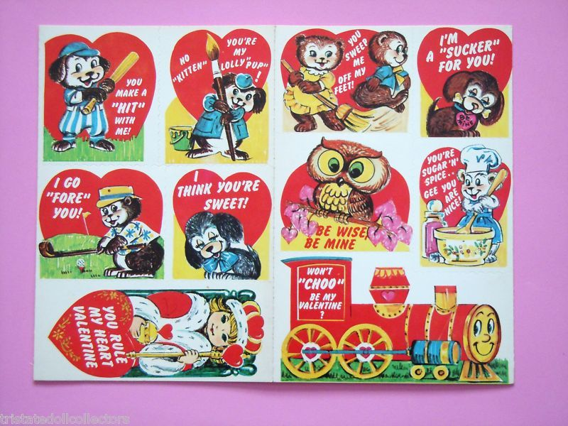 40 WHIMSICAL Vintage 60s 70s VALENTINES DAY CARDS Childs Class UNCUT