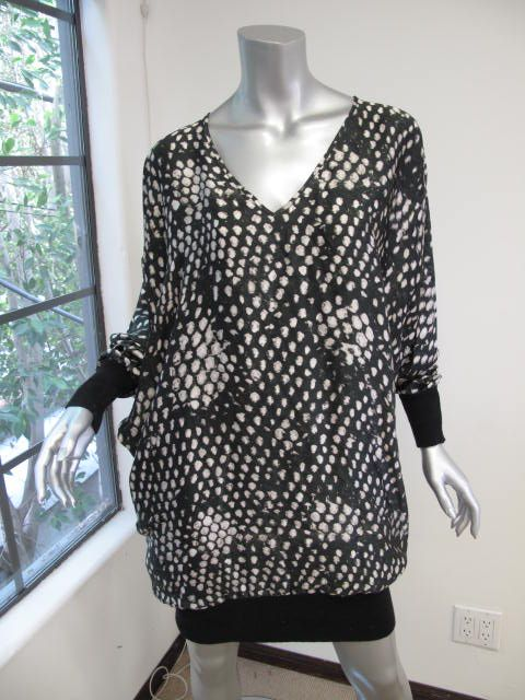 McCartney Black/White Printed Long Sleeve Knit Bottom Dress 44
