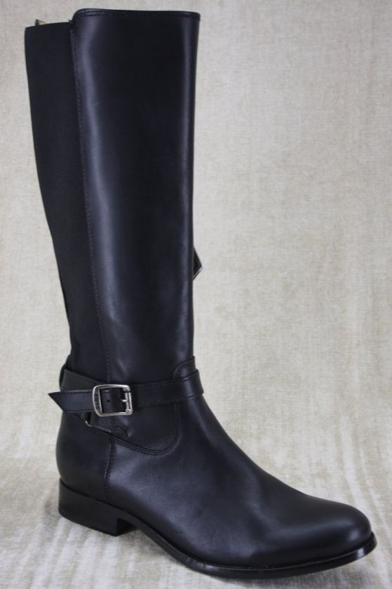 FRYE Melissa Button Tall stretch Goring Zip Black Leather Riding Boots