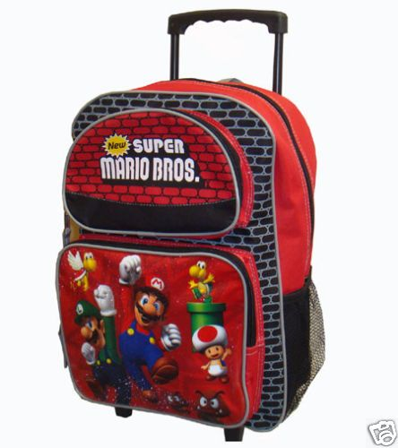 Super Mario Bros Large Rolling Backpack 16 x 11