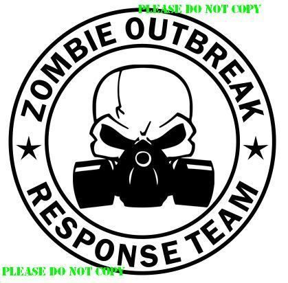 Zombie Outbreak Response Team Skull Gas Mask Car Truck Window Sticker