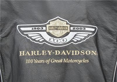 100th Anniversary Harley Davidson Black Leather Jacket