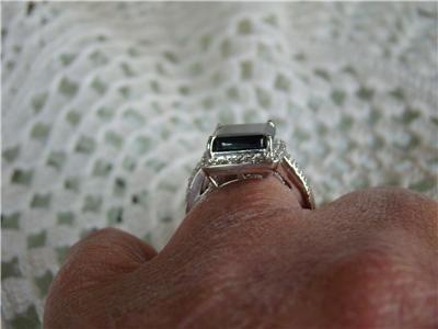 /925 Emerald Cut Blue Sapphire Solitaire Diamond Accents Ring, Size 7
