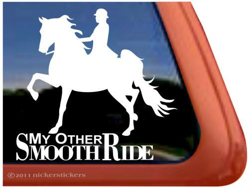 SMOOTH RIDE ~ High Quality Horse & Rider Trailer Window Sticker Decal