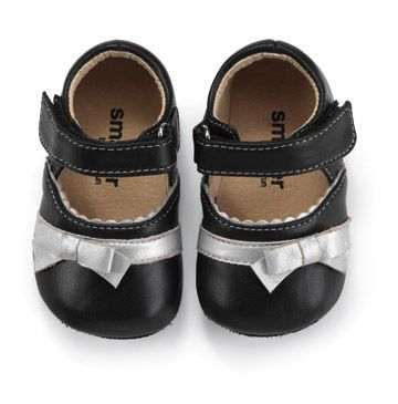 See Kai Run Baby Girls Black Mary Jane Shoe With Silver Bow